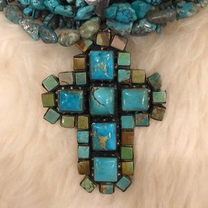 Genuine Turquoise Beaded Necklace W/Cross Pendant